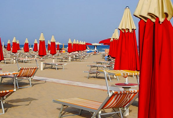 Rimini Vacation Travel Beach Seashore Italy Umbrel