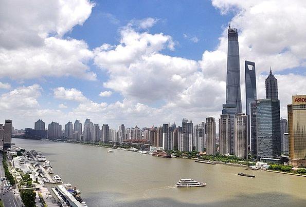 Shanghai Buildings Blue Architecture Building Stru