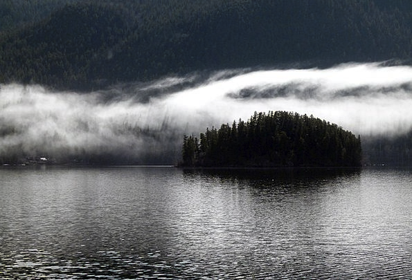 Foggy Unclear Landscapes A.m. Nature Lake Freshwat