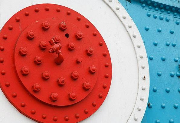 Blue Azure Bar Bolts Bars Bolt Nut Close-Up Detail