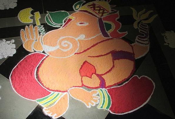 Ganesha Deity Rangoli God Dharwad Culture India De