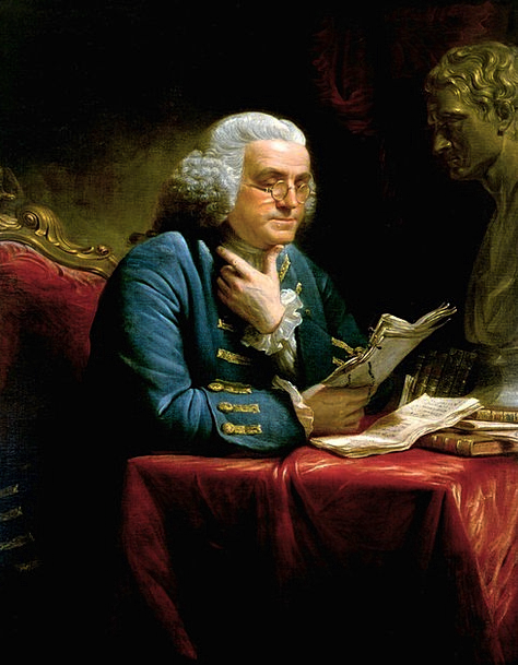 Benjamin Franklin Writer Author 1767 Oil Painting