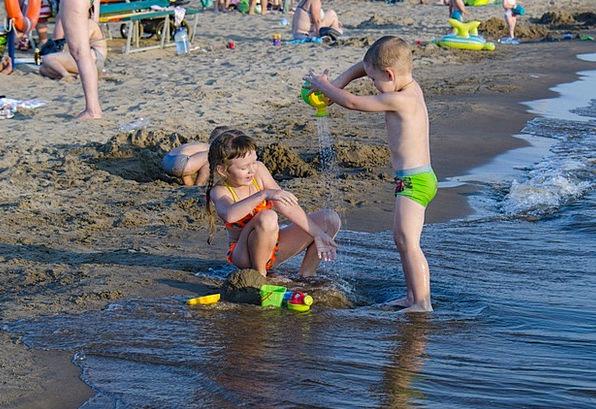 Kids Children Vacation Seashore Travel Sandy Beach