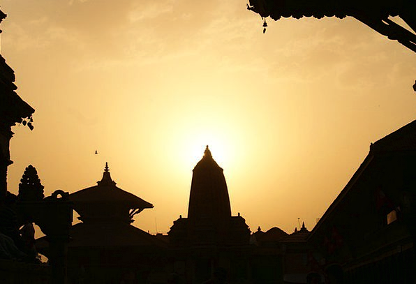 Nepal Evening Twilight Kathmandu Temple Shrine Sun