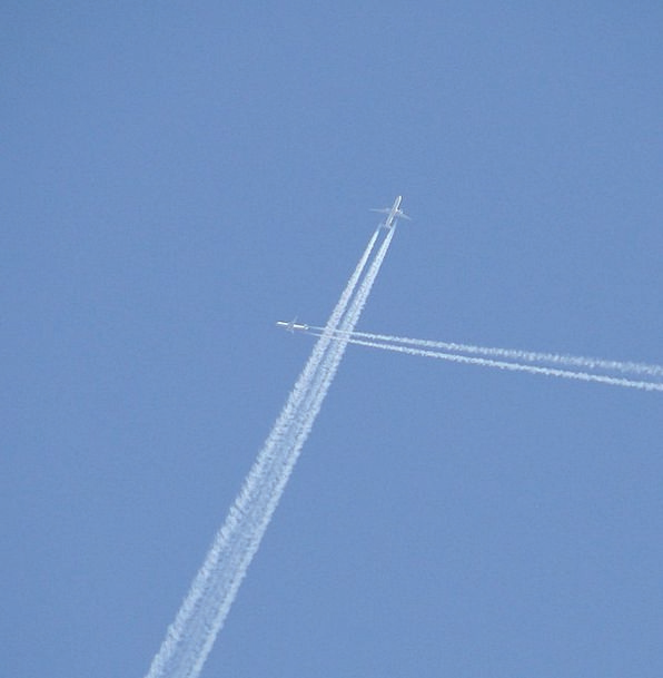 Jets Vacation Travel Crossing Journey Contrails Ai