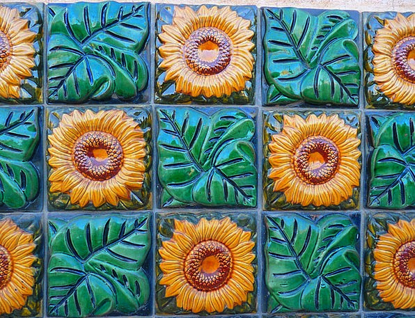 Sunflower Inlay Tiles Slates Tile Ceramic Earthenw