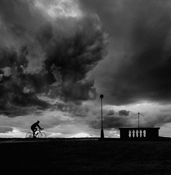 Bicycle Outline Bike Motorbike Silhouette Sky Blac
