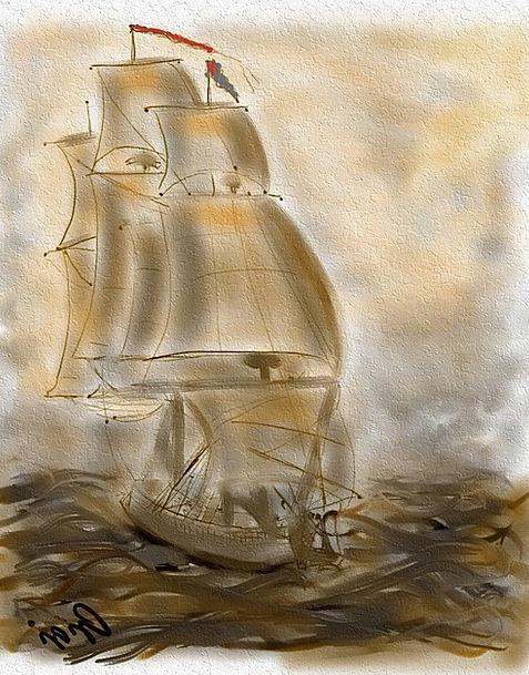 Sailing Ship Ship Textures Backgrounds Art Paintin