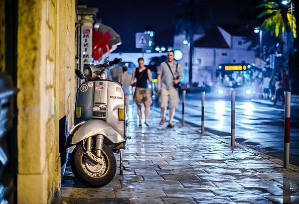 Vespa Traffic Road Transportation Night Nightly St