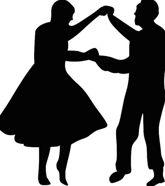 Couple Twosome Bopping Silhouette Outline Dancing
