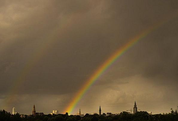 Double Rainbow Landscapes Multicolored Nature Spec