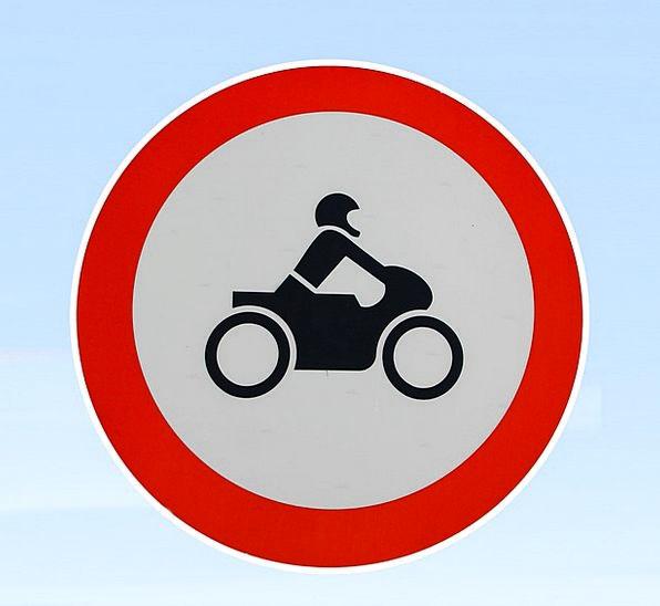 Motorcycle Motorbike Forbidden Traffic Sign Prohib