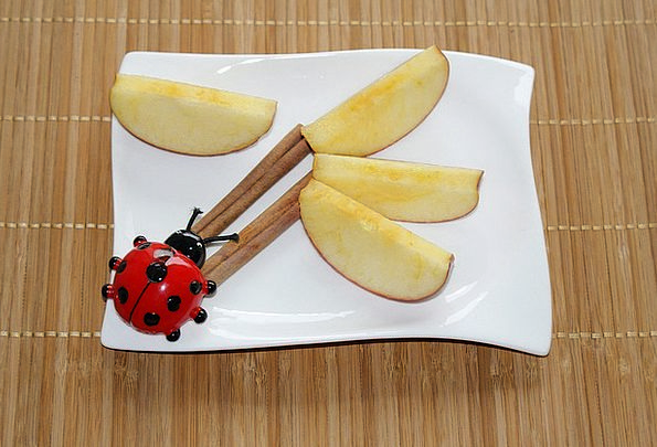 Plate Decoration Cinnamon Apple Slices Ladybug