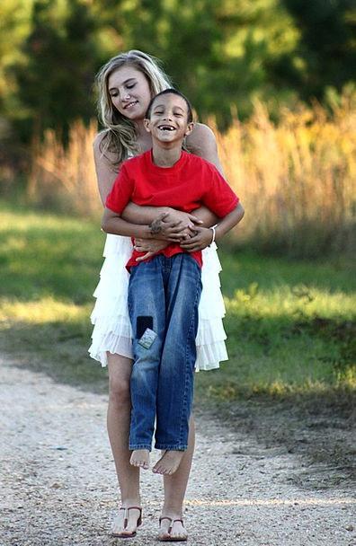 Girl Lassie Lad Together Composed Boy Walking Smil