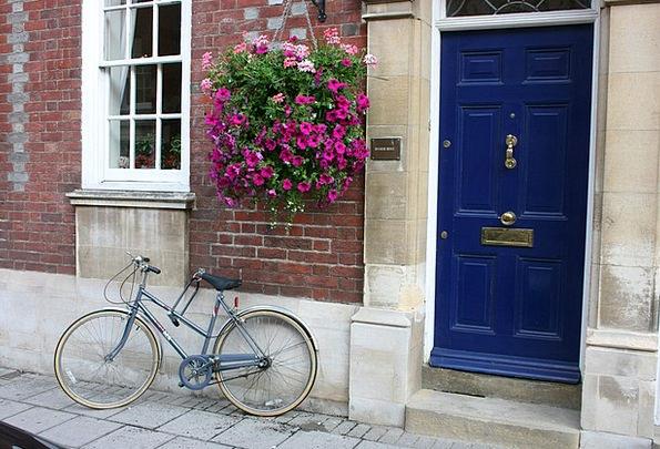 Bike Motorbike Entrance Vase Of Flowers Door Flowe