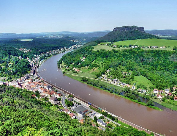 Panoramic View To The Lilienstein Königstein Elbe