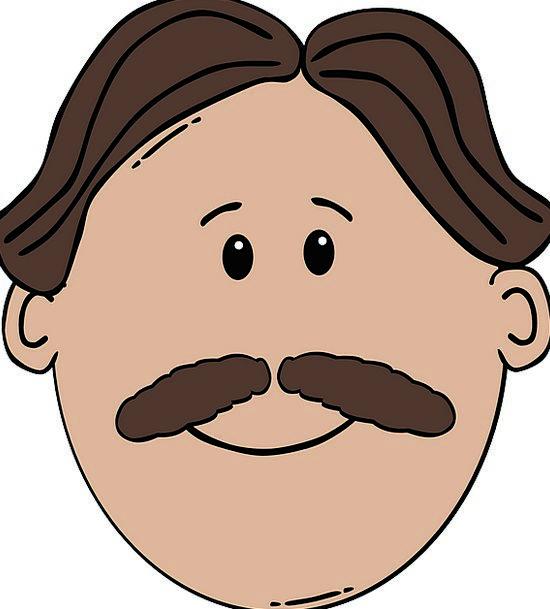 Middle Part Gentleman Face Expression Man Moustach