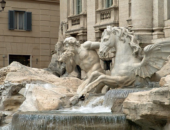 Fountain Cascade Italy Rome Triton Winged Stallion