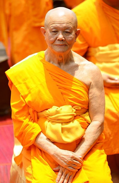 Monk Friar Sitting Sedentary Buddhists Orange Elde