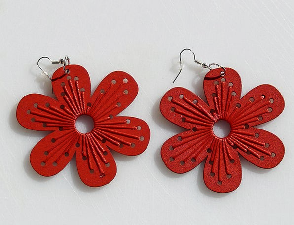 Earrings Jewelries Red Bloodshot Jewellery Wood Ti