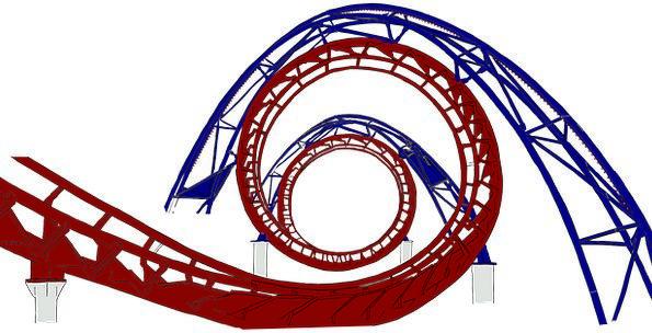 Roller Coaster Pipe Red Bloodshot Tube Blue Azure