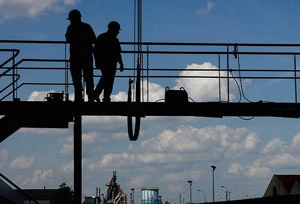 Construction Worker Labors Working At Height Worke