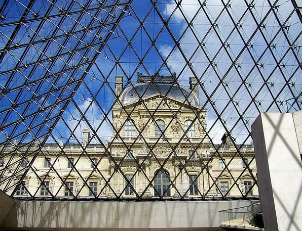 Paris Louvre France Pyramid Glass Museum Cut-glass