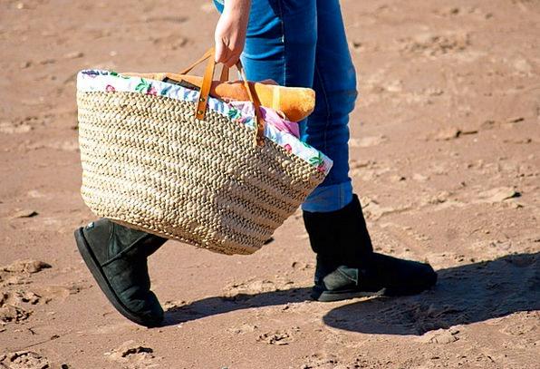 Bag Basket Vacation Travel Sand Shingle Walking Be