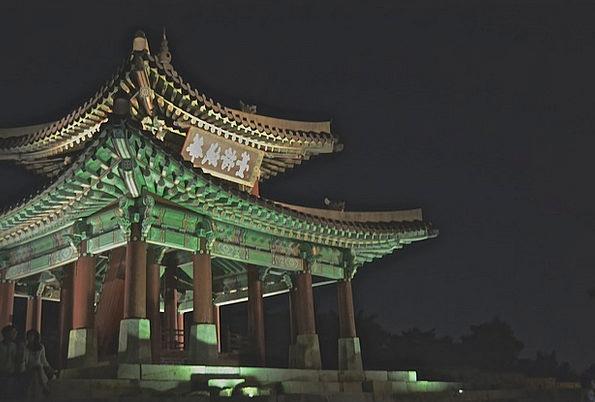 Korea Shrine Asia Temple Night Nightly Lights Sigh