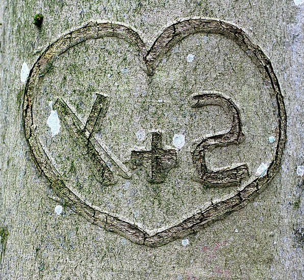 Tree Sapling Imprinted Heart Emotion Carved Letter