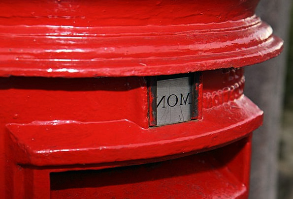 Postbox Letterbox Red Bloodshot British Monday Pos