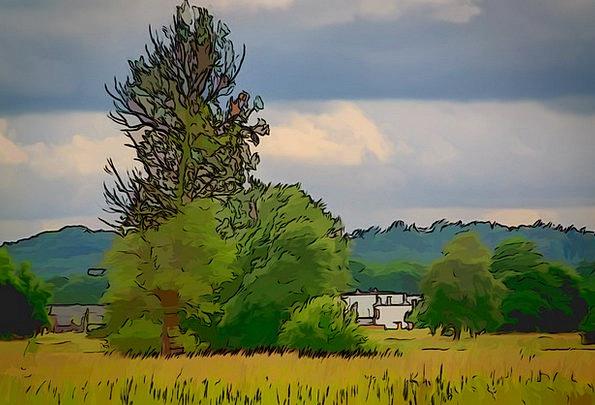 Comic Witty Landscapes Sketch Nature Landscape Sce