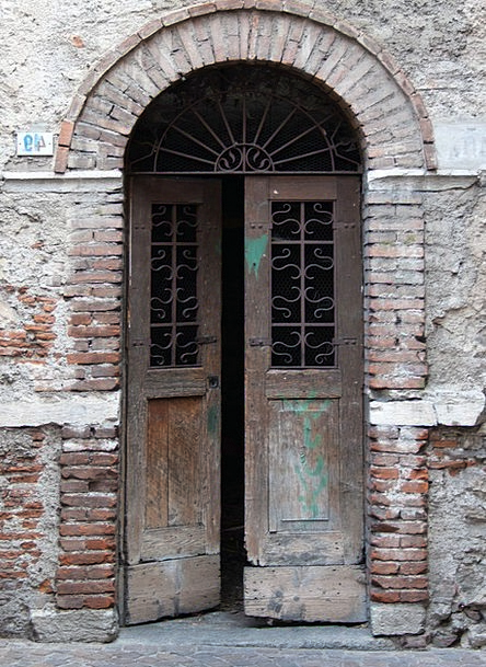 Old Doorway Dilapidated Decrepit Patched Doors Bri