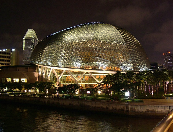 Singapore Buildings Architecture Lights Illuminati