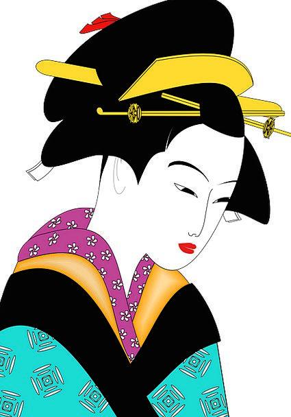 Kimono Bathrobe Fashion Beauty Woman Lady Geisha A