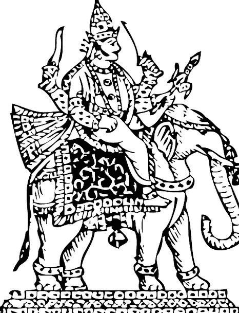 Goddess Deity Monster God Elephant Worship Indra C