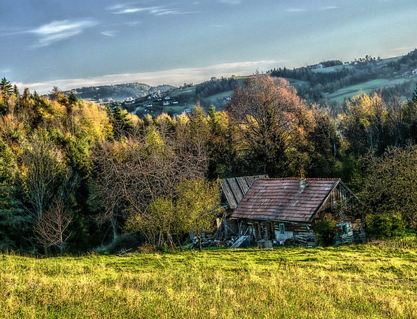 Cottage Hut Landscapes Countryside Nature Mountain