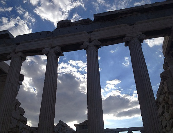 Greece Columns Pillars Acropolis White Sky From The